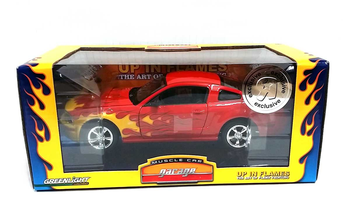Muscle Car Garage 2005 Ford Mustang Gt Red With Flames 1 24 Scale