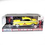 Hollywood Rides: 1957 Chevy Bel Air Taxi with Deadpool Figure 1/24 Scale