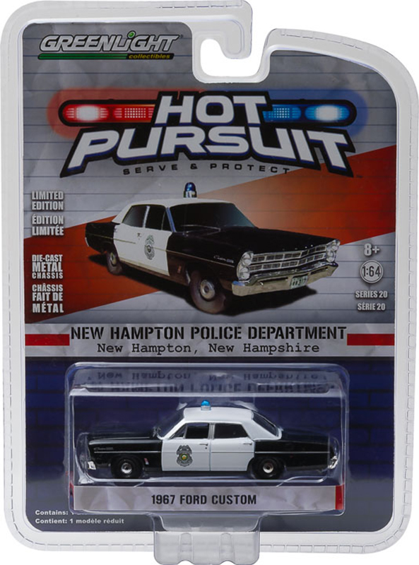Greenlight Hot Pursuit: 1967 Ford Custom 500 - New Hampton, NH Police 1/64 Scale