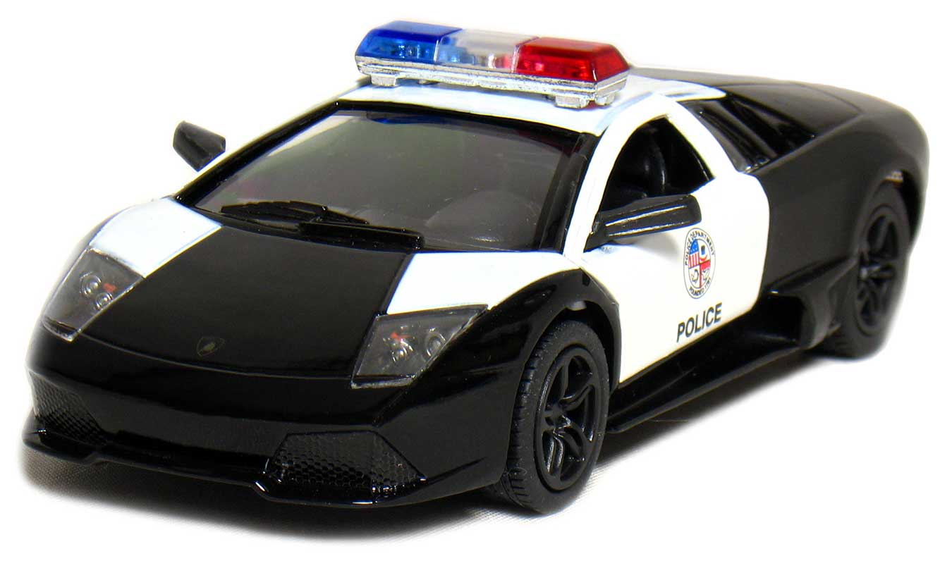 5 Die Cast Lamborghini Murcielago Lp640 Police Black White
