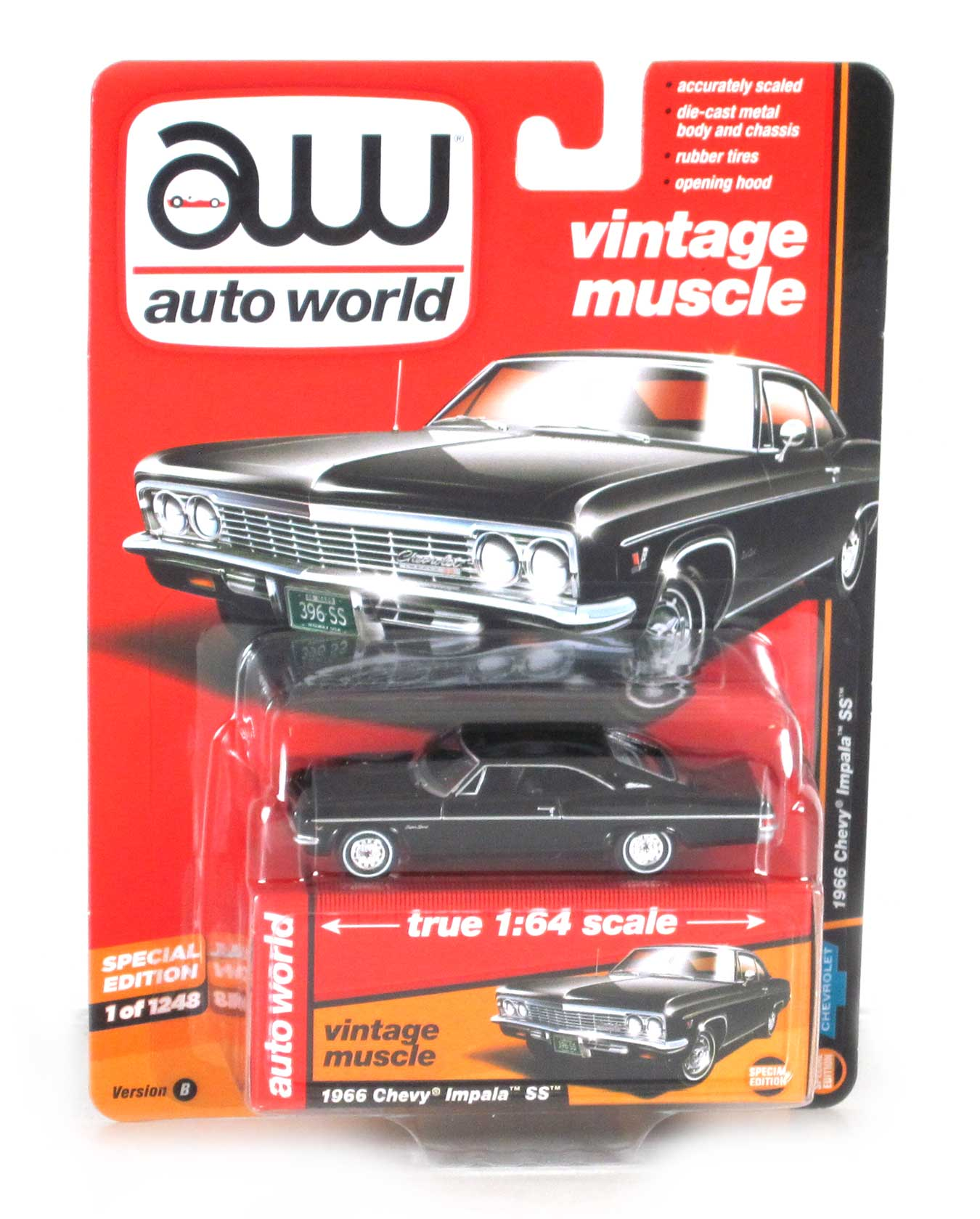 Vintage Muscle 1966 Chevy Impala Ss Black 1 64 Scale Quick View