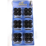 Set of 6: Hobby Custom Replacement Black Wheels - Fits most 1/24 Scale Model Cars