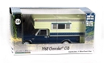 Greenlight: 1968 Chevy C10 Cheyenne with Large Camper 1/64 Scale (Blue)