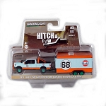 GREEN MACHINE! Hitch & Tow: 2015 Ford F-150 Gulf Oil #68 and Enclosed Car Hauler 1/64 Scale