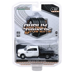 Greenlight Dually Drivers Series: 2018 Ram 3500 Laramie Flatbed (White/Black) 1/64 Scale