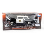 Highway 61: 1957 Chevy 150 Sedan Police (Black/White) 1/18 Scale