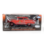 Highway 61: 1957 Chevy 150 Sedan Fire Chief Battalion 4 (Red) 1/18 Scale