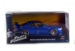 Fast & Furious: Brian's Nissan Skyline GT-R R34 (Candy Blue) 1/24 Scale