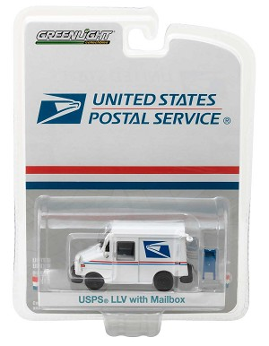 Greenlight Hobby  Exclusive: USPS Long-Life Postal Delivery Vehicle (LLV) with Mailbox 1/64 Scale