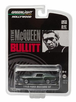 "Greenlight Hollywood: 1968 Ford Mustang GT ""Bullitt"" (Green) 1/64 Scale"