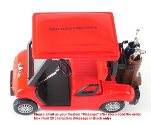 "4.5"" Die-Cast Golf Cart (Red) Free Custom Message on Roof of Cart!"