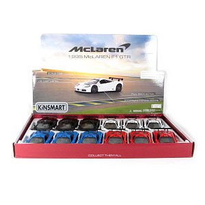 "5"" Die-cast Box of 12: 1995 McLaren F1 GTR (Black, Blue, Red and White) 1/34 Scale"